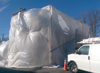 A plastic heat tent for stucco in                               Northern Virginia, in the Washington, DC                               area.