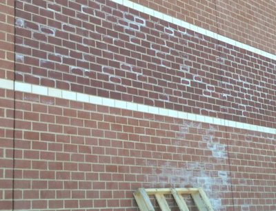 Too much calcium chloride on                                       this brick work in Virginia