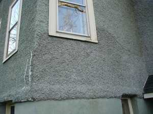 Crooked line hides patch in stucco