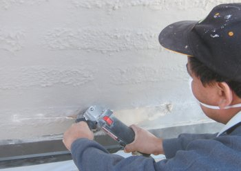 Stucco cut back for roof repair